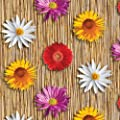 Wachstuch Breite 100 cm Länge wählbar - DHT7021 Blumen Bambus Bunt - Eckig Main abwaschbare Tischdecke Wachstücher Gartentischdecke von DHT-WT100cm auf Gartenmöbel von Du und Dein Garten
