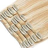Extensions a Clip Cheveux Naturel Cheveux Humain 8 Bandes 100% Human Remy Hair #18+#613 Mix, 40cm-90g