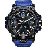 Orologio militare da uomo sport impermeabile casual orologio Masculino LED analogico al quarzo con batteria (nero e blu scuro