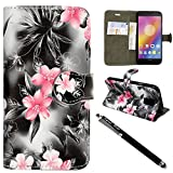Lenovo P2 Case, Premium Leather Flip Wallet Book [Stand View] Card Case Cover For Lenovo P2 By Kamal Star® + Free Stylus (Pink Flower Dark Grey Book)