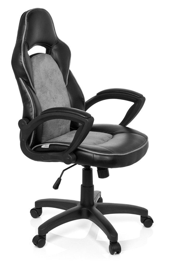 hjh OFFICE 621870 silla gaming RACER VINTAGE I piel sintética gris, ergonómica, buen acolchado, con apoyabrazos, cómoda, inclinable, ajuste de altura, fácil de cuidar, resistente, buen precio