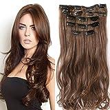 22' Full Clip tete dans les extensions de cheveux Ombre Wavy Curly Dip Dye 7 Pcs brun chocolat