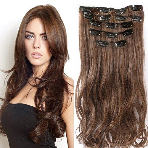 """22 """"Full-Kopf-Klipp in den Haar-Verlangerungen Ombre Wavy Curly Dip Dye 7Pcs Schokoladenbraun"""