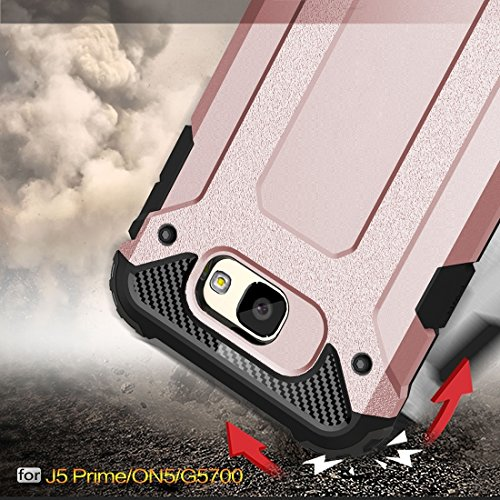 Samsung Galaxy J7 Prime Case Tough Armor TPU + PC Kombi Hülle Für Samsung Galaxy J7 Prime by diebelleu ( Color : Red ) Rose gold