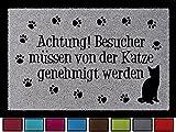Interluxe FUSSMATTE Türmatte Achtung BESUCHER MÜSSEN VON DER Katze Shabby Haustier Eingang Hellgrau