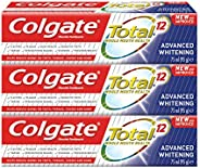 Colgate Total Advanced Whitening Toothpaste 12 Hour Protection - 3 x 75 ml