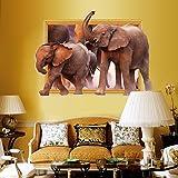 Cortina Elephants in Jungle 3D Theme Wall Sticker (Vinyl, 46 cm x 5 cm x 5 cm, BI-SK9018w)