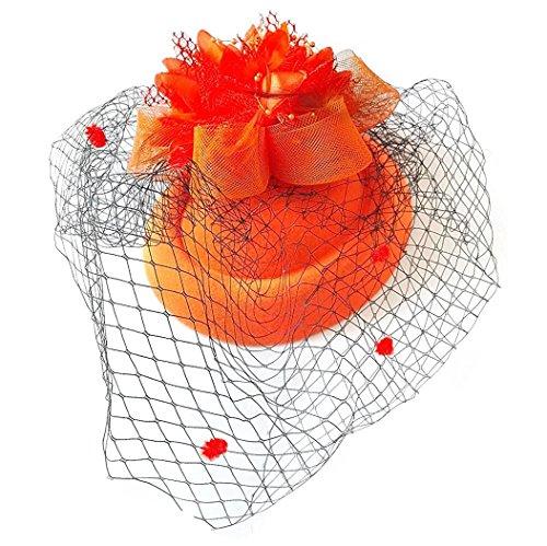 (Fascinator Hut Pillbox Hut Britischer Bowler Hut Blumen Schleier Hochzeits Hut Tee Party Hut (Orange))