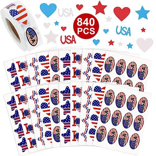 s Patriotische Sticker-Sortiment, 500 Stück Patriotische Rollen mit Aufklebern 240 Stück Unabhängigkeit und 100 Stück Schaumstoff-Aufkleber für den 4. Juli ()
