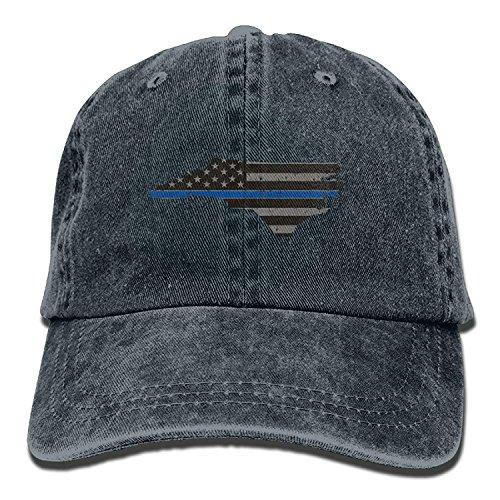 Men&Women Thin Blue Line Flag North Carolina Adjustable Vintage Washed Denim Cotton Dad Hat Baseball Hats -