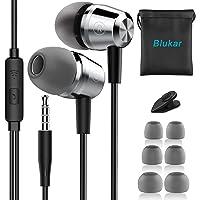 Blukar Auricolari, Ear Cuffie Auricolari Stereo in Metallo con Microfono - Alta Definizione, Bassi Potenti, Isolamento…