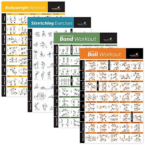 4er Pack laminiert Home Gym Übungs Poster (Körpergewicht, Dehnen, Stabilität Ball) baut Muskeln auf, Ton und Stärken der Ganze Körper. Groß und Leicht zu Folgen, Fitness Diagramm (Fitness-ball-chart)