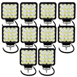 AUXTINGS Faros de Trabajo Led,48W Luces Trabajo Led Flood LED Light Bar Montaje de luces de antiniebla 4800LM IP67 Impermeable para Off-Road,Camión,Coche,ATV,SUV,Barco(10PCS)