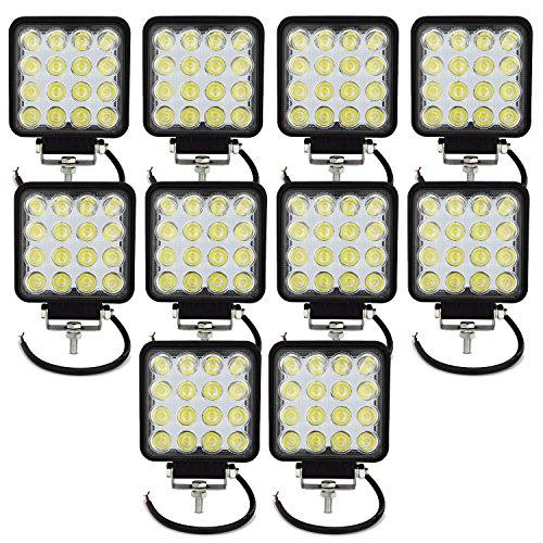 AUXTINGS Faros de Trabajo Led,48W Luces Trabajo Led Flood LED Light Bar Montaje de luces de antiniebla 4800LM IP67 Impermeable para Off-Road,Camión,Coche,ATV,SUV,Barco(10PCS)
