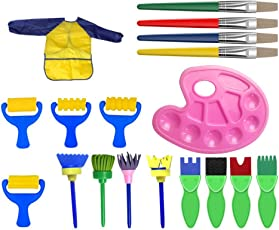 Toyvian 18pcs Paint Brush Set Kids Painting Sponge Brushes Drawing Brush with Palette and Apron Painting Rollers