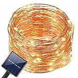 Solar LED Lichterkette 200LEDs im 20meter KupferDraht 8 Modus Lights Wasserdicht IP65,Außenlichterkette,Lichterketten(Warmweiß)