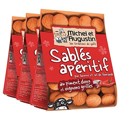 Michel et Augustin Sablés apéritif pur beurre et sel de Guérande au piment doux et oignons grillés 120g - Lot de 3