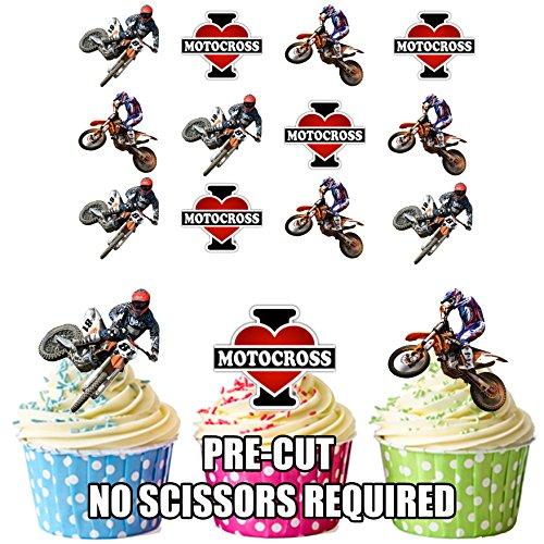 I love Motocross Mix - Essbare Cupcake Topper/Kuchen Dekorationen (12 Stück) -