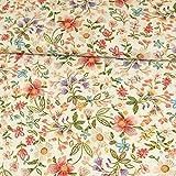 Stoffe Werning Viskosestoff Sommerblumen Natur Modestoffe