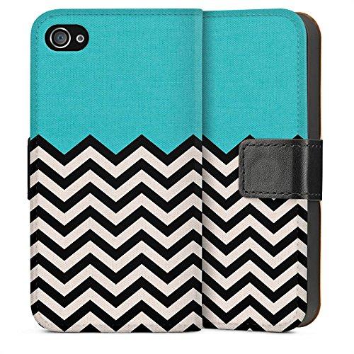 Apple iPhone 5s Housse Étui Protection Coque Motif Motif Zigzag Sideflip Sac