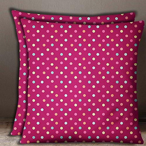 S4Sassy 2 Stueck Baumwolle Popeline dunkel rosa Polka Dot Print dekorative quadratische Kissenbezug-22 x 22 Zoll -