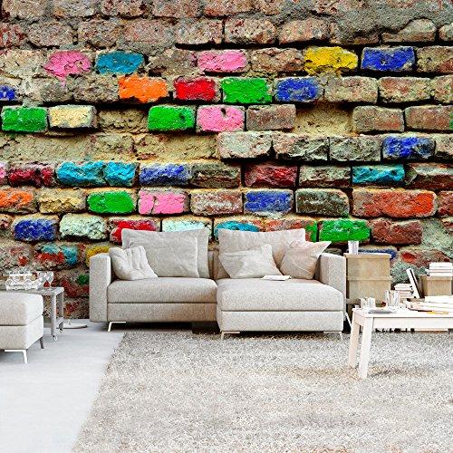 murando - Fototapete Steinwand 400x280 cm - Vlies Tapete - Moderne Wanddeko - Design Tapete - Wandtapete - Wand Dekoration - Steine Stein Steinwand Ziegel bunt f-B-0100-a-a (Ziegel-stein-tapete)