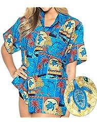 La Leela dames caribbean bouton vers le bas à manches courtes 4 en 1 hawaii aloha fête casuals vacances lounge cadeau blouse ajustement robe chemise des femmes hawaïennes de lumière bleue assouplies