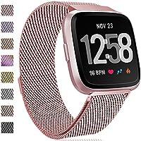 HUMENN Correa para Fitbit Versa, Milanés Loop Ajustable Pulsera de Acero Inoxidable Repuesto con Cierre Magnético para Fitbit Versa/Special Edition Small Oro Rosa