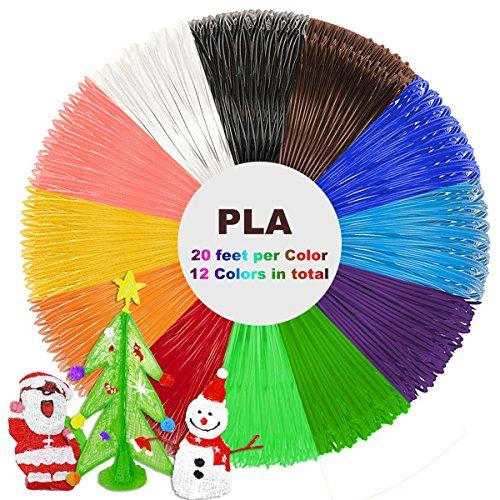 3D Stift Filament 12 Farben 6M, 3D Pen PLA Filament 1.75mm, 3D Stift Farben Set für ODRVM, Tipeye, Uvistare, Sunlu, PLUSINNO, QPAU, Kozy Life, Nexgadget und dikale 3D Druckstift