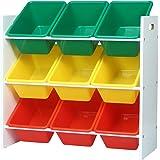 WOLTU SPK007 Étagère de Rangement pour Enfants avec 9 boîtes,étagère à Jouets boîtes de Jouet pour Chambre d'enfant,Multicolo