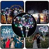 4 PCS Luftballons, 45,7 cm/ 3 m (18 Zoll/9,84 Fuß), LED-Ballons, mit Halterungsstäben, für Geburtstage, Hochzeiten, Feste, Dekoration, mehrfarbig
