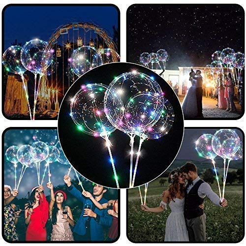 5,7 cm/ 3 m (18 Zoll/9,84 Fuß), LED-Ballons, mit Halterungsstäben, für Geburtstage, Hochzeiten, Feste, Dekoration, mehrfarbig ()