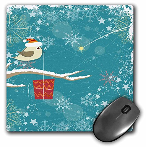 Dooni Designs Halloween Designs - Cute Christmas Xmas Birdie Bird With Santa Hat and Christmas Present On Modern Snowflakes Background - MousePad (mp_150142_1)