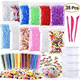 Fepito 35 Pack Craft Slime Making Kits Fruit Slime Crunchy Slime Foam Slime Accesorios Incluyendo Slime Box Fishbowl Beads Glitter Fruit Slices Cuentas de espuma para Slime DIY
