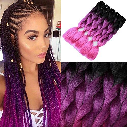 YMHPRIDE Jumbo Geflochtene Haare Fashion 3-farbige Ombre geflochtene Haare 24 Zoll(61 cm) Geflochtene Haare 5 Stück(schwarz violett rose)