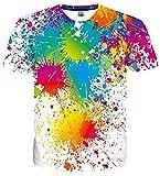 uideazone Jungen Kurzarm T-Shirts 3D Print Bunt Splash Sommer Grafik Tees Shirts M