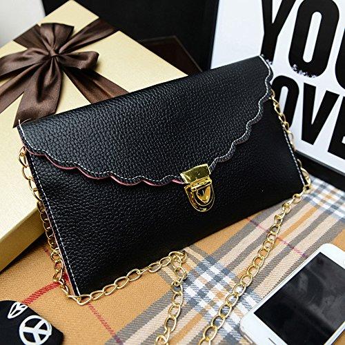 Cheerlife Damen Envelope Clutch Messenger Umhängetasche Schultertasche Handtasche Geldbörse Tasche in vielen Farben Schwarz