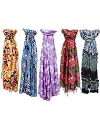 Indistar Set of 5 Premium Soft Vibrant Coloured Trendy Scarf/ Scarves / Stoles/ Dupattas