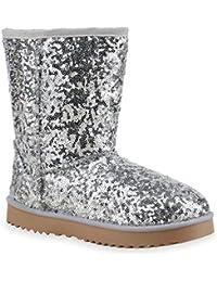 Damen Schlupfstiefel | Warm Gefütterte Stiefel | Stiefeletten Winter Boots | Bommel Pailletten Glitzer | Snake Print Schuhe | Flandell®
