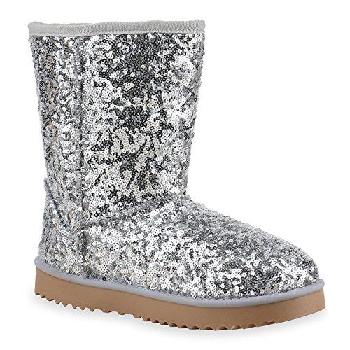 Damen Schuhe Schlupfstiefel Boots Winterstiefel Silber Metallic