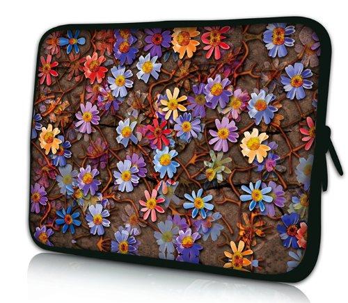 Luxburg® Design Laptoptasche Notebooktasche Sleeve für 17,3 Zoll, Motiv: Strümpfe Blumenteppich