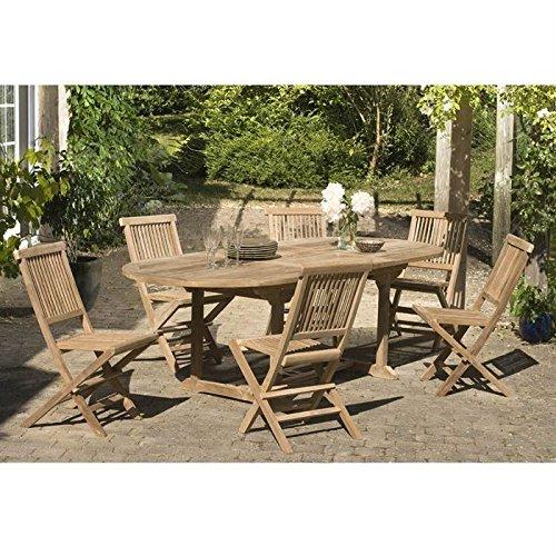 MACABANE 500925 Salon de jardincouleur Brut en Teck imension 180/240cm X 100cm X 75cm