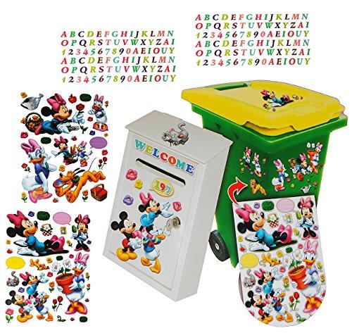 Preisvergleich Produktbild 233 tlg. Set - Aufkleber für Mülltonne + Briefkasten - Disney Minnie Mouse Daisy - Wasserfest Sticker - für Innen & Außen - Wetterfest - Playhouse Entenhausen