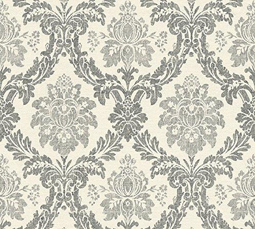 A.S. Création Vliestapete Secret Garden Tapete mit Ornamenten barock 10,05 m x 0,53 m creme schwarz Made in Germany 336051 33605-1 (Und Tapete Schwarz Creme)