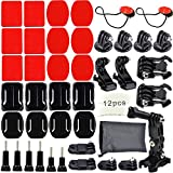Erligpowht Accessories kit for SJ4000 SJ5000 and ALL GoPro Camera Models, HERO4, HERO3+ Black Edition, HERO3, HERO2, HERO1, HD - Curved & Flat Mounts Bundle with 3M Sticky Pads + Anti-fog inserts + J-Hook Mounts + Surface release buckle + insurance tether + 3-Way Adjustable Pivot Arm