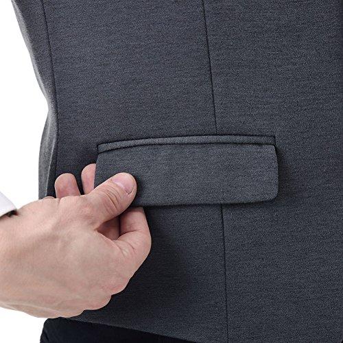 Zicac Herren Anzug Weste Casual Business Klassik Slim Fit Weste auch für Hochzeit Grau