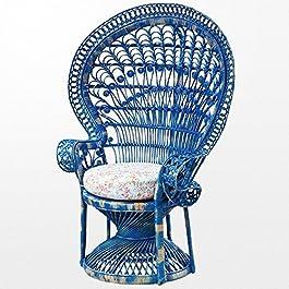 Atypik Home Fauteuil Emmanuelle de Jardin en rotin de Couleur Bleue