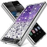 K&L Hülle für Huawei P8, Fließen Bling Dynamisch Glitzer Kratzfest Silikon Schutzülle Schale Luxus handyschalen Shiny Cover für Huawei P8 - Lila