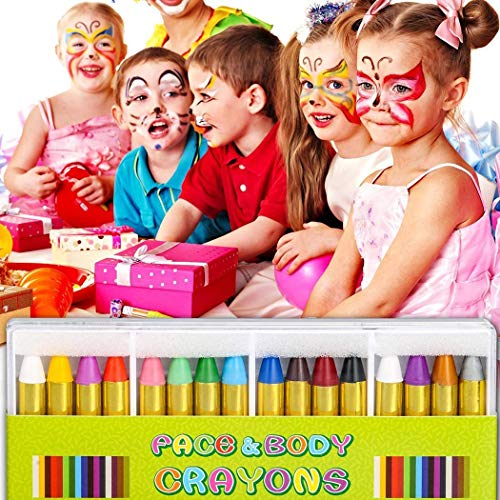 nuiko Buntstiftkit für Kindergesichtsfarbe, Kindergesichtsfarbe Crayons Kit Körperölfarbe Clown Fans Devil Ghost Party Körperfarben