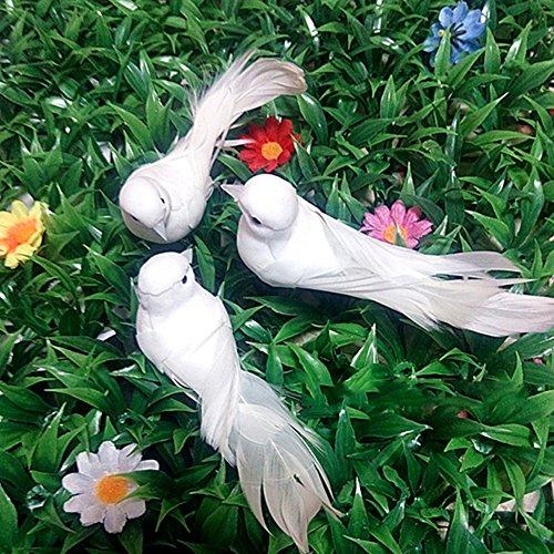 ochzeitsdekoration, aus Kunstschaum, mit Federn, Mini-Vögel, für Bastelarbeiten, Dekoration für Hochzeitsfeier, Zuhause, 1 Stück, Weiß, weiß, Free Size ()